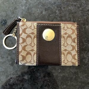 Coach skinny mini ID case wallet with key ring